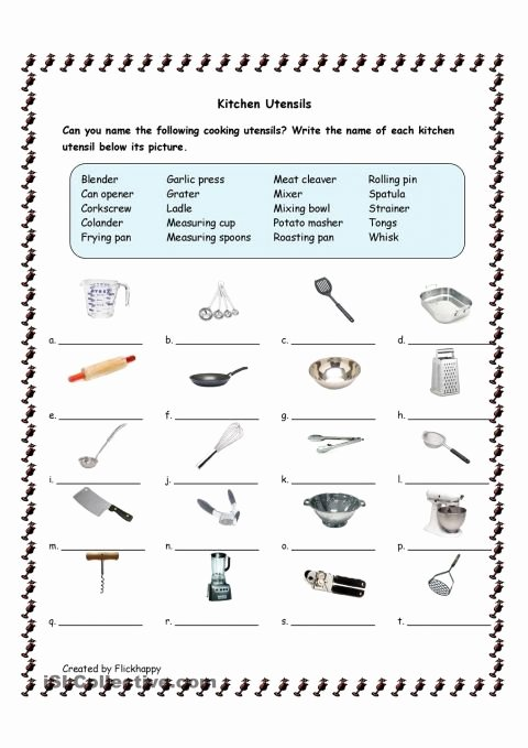 Free Printable Life Skills Worksheets Free Kitchen Utensils Printable