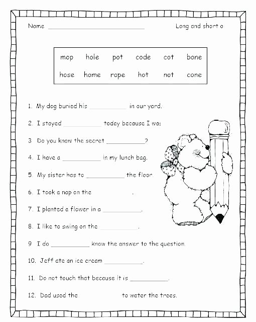 Free Printable Long Vowel Worksheets Phonics Worksheets for First Grade