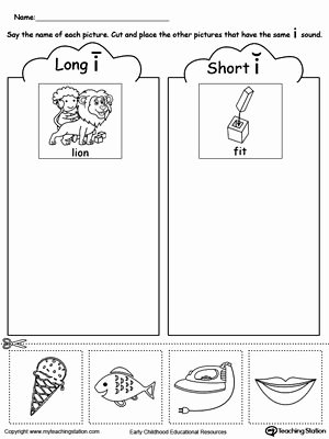Free Printable Long Vowel Worksheets Short and Long Vowel I Picture sorting