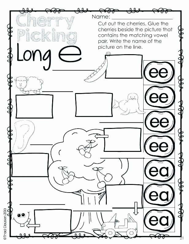 Free Printable Long Vowel Worksheets Silent Long Vowel Worksheets Kindergarten O Phonics for