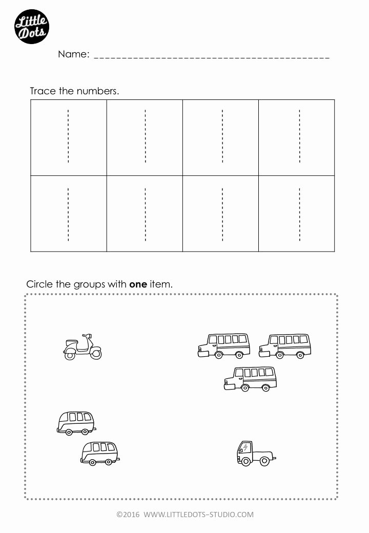 Free Printable Number Tracing Worksheets Free Number 1 Worksheet for Pre K Level Practice to Trace
