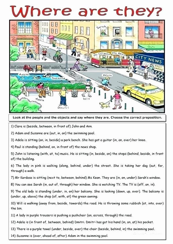 Free Printable Preposition Worksheets Grade Preposition Worksheets Preposition Practice City