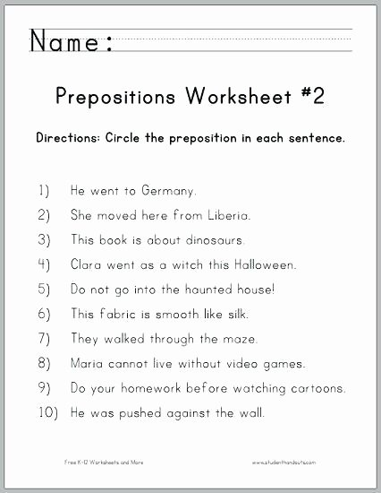 Free Printable Preposition Worksheets Preposition Worksheets 2nd Grade