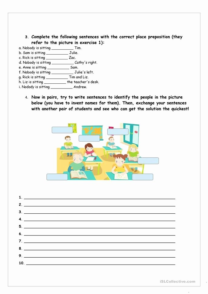 Free Printable Preposition Worksheets who S who and where are they Engels