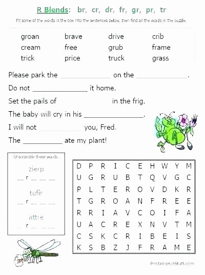 Free Printable R Blends Worksheets Cvcc Word Blends Worksheets