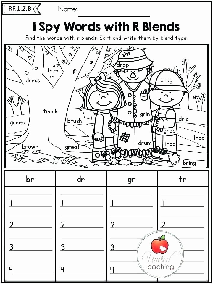 Free Printable R Blends Worksheets Phonics First Grade sound Worksheets Digraph for Free
