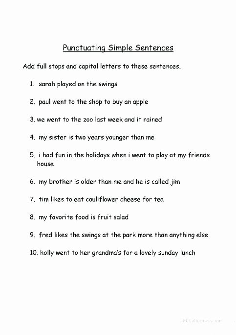 punctuating simple sentences worksheet free printable worksheets made by teachers 1 basic sentence structure exercises esl for adults beginning