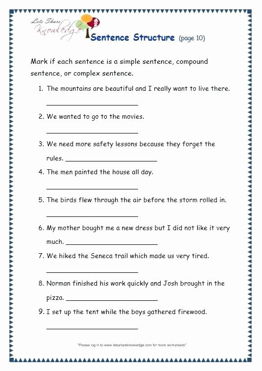 Free Printable Sentence Structure Worksheets Grammar Worksheets for Grade 5 Page Sentence Structure
