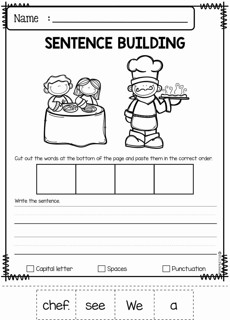 Free Printable Sentence Structure Worksheets September Sentence Building Best Of Tpt