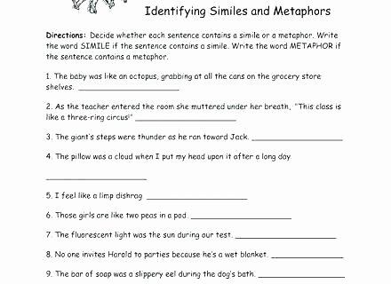 Free Printable Simile Worksheets Free Printable Simile and Metaphor Worksheets