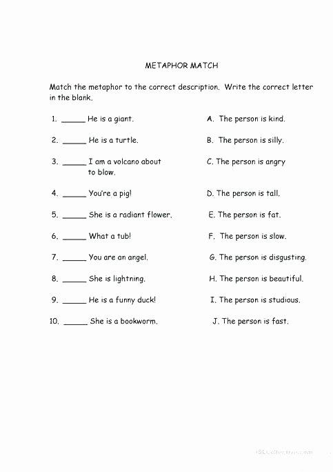 Free Printable Simile Worksheets Free Simile and Metaphor Worksheets