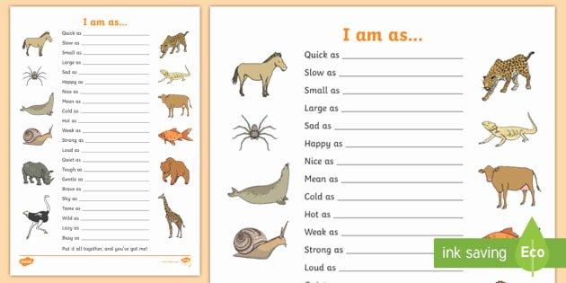 Free Printable Simile Worksheets Free Simile Worksheet Similies Simile Similies