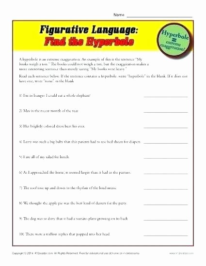 Free Printable Simile Worksheets Full Personification Worksheets Poem and Hyperbole Metaphor