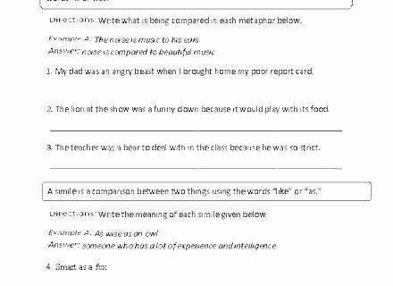 Free Printable Simile Worksheets Simile Worksheets Free Intermediate Metaphor Worksheet Free