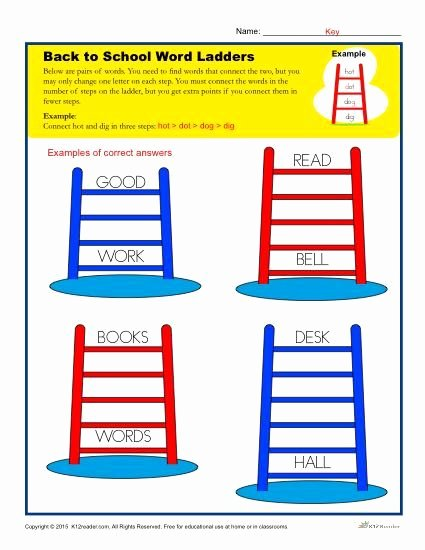 Free Printable Word Ladders Back to School Word Ladder Worksheet for Elementary School