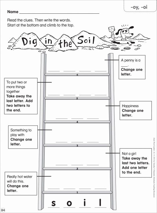 Free Printable Word Ladders Dig In the soil Oy Oi Word Ladder K 1 Spelling