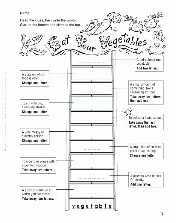 Free Printable Word Ladders Word Ladder Worksheets Around the House Ladders and Grade