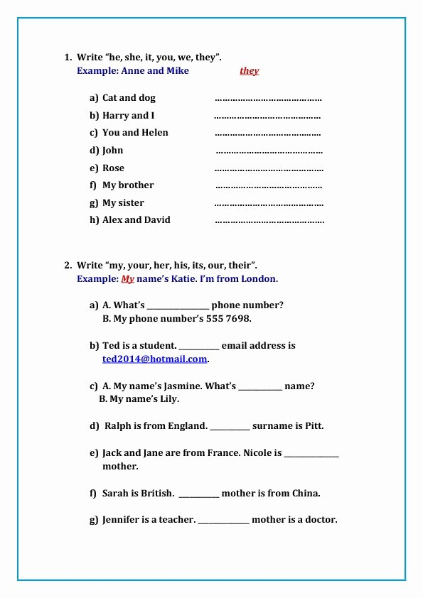 Free Pronoun Worksheets Adjective Worksheets 2nd Grade Elegant 119 Free Possessive