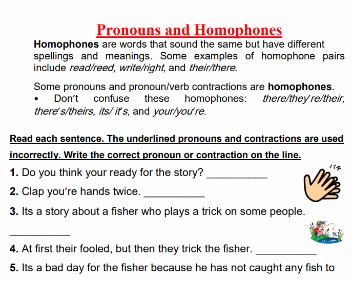Free Pronoun Worksheets to Close or Click and Drag to Move
