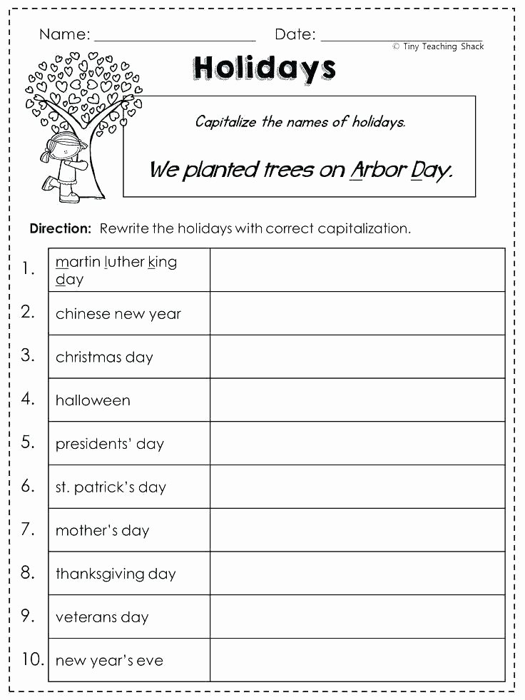 Free Proper Noun Worksheets Capitalization Practice Worksheets Sites for Punctuation