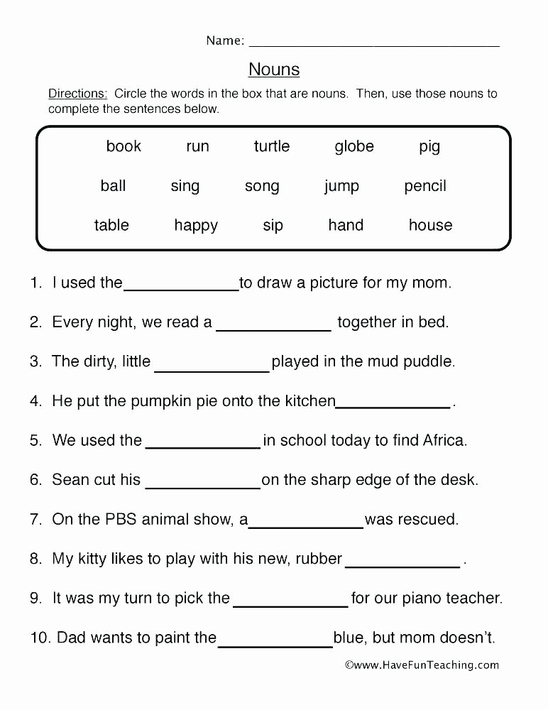 Free Proper Noun Worksheets Plural Possessive Nouns Worksheets 4th Grade