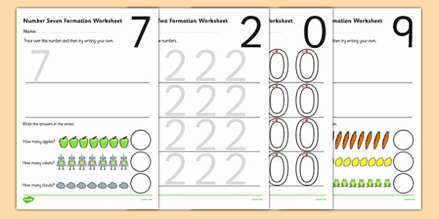 Free Recycling Worksheets Free 0 9 Number formation Worksheets Number formation