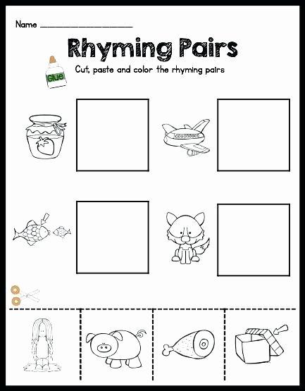 Free Rhyming Worksheets for Kindergarten Cut and Paste Worksheets for Kids