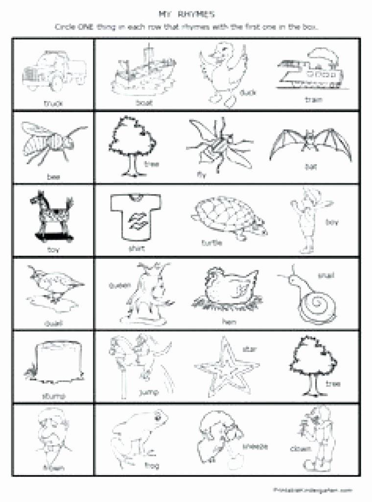 Free Rhyming Worksheets for Kindergarten Free Printable Rhyming Words Worksheets