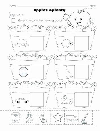 Free Rhyming Worksheets for Kindergarten Rhyming Words Worksheets for Preschoolers