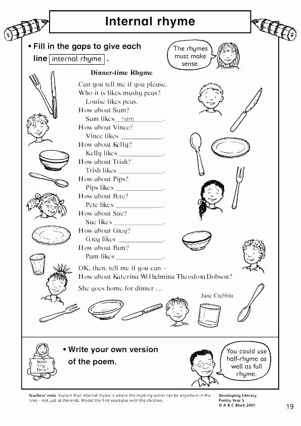 Free Rhyming Worksheets for Kindergarten Rhyming Worksheets