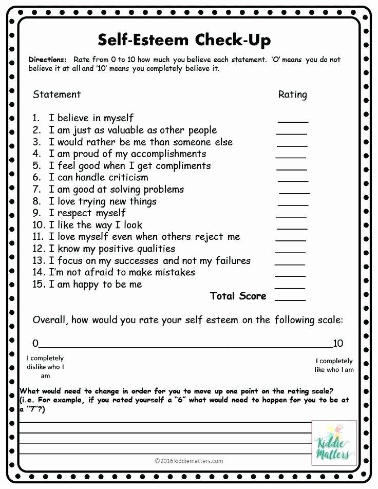 Free Self Esteem Worksheets Building Self Esteem Worksheets