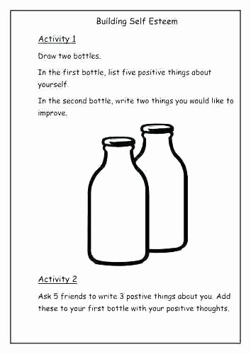 Free Self Esteem Worksheets Positive Self Esteem Worksheets for Teens Confidence and