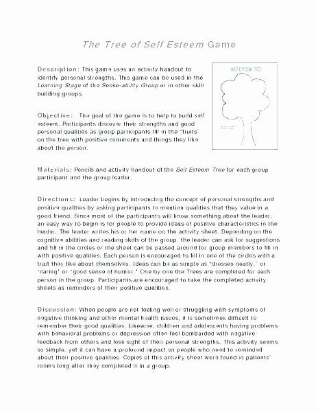 Free Self Esteem Worksheets Self Esteem Building Worksheets Printable