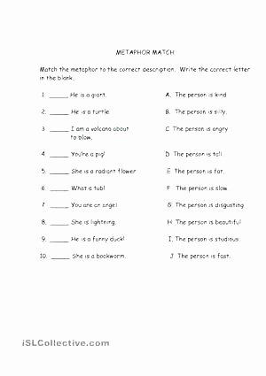 Free Simile Worksheets Metaphor Worksheets for Kids