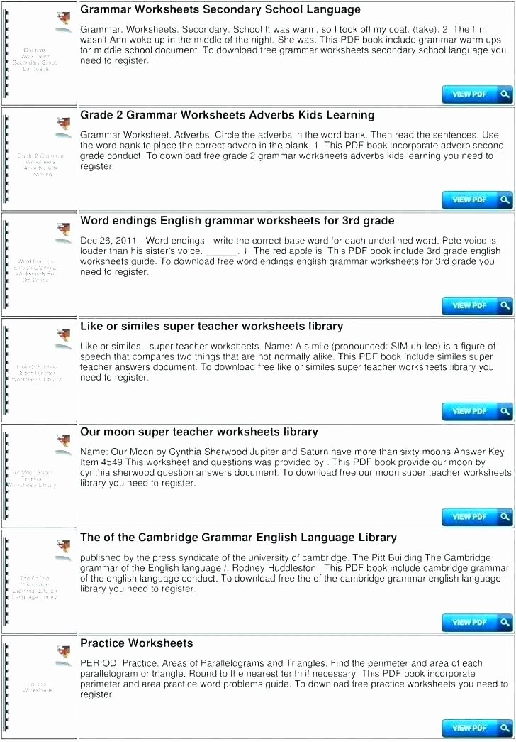 Free Simile Worksheets Nouns and Verbs Worksheets Grammar Worksheets Grade 5 Line