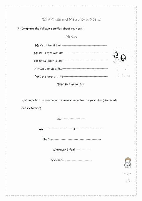 Free Simile Worksheets Similes and Metaphors Worksheet Metaphor Worksheets for Kids
