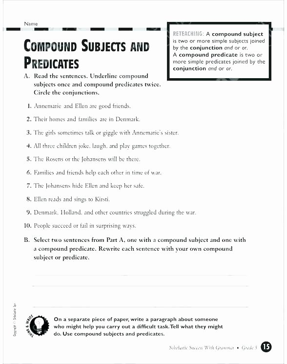 Free Subject and Predicate Worksheets Best Subject Predicate Teaching Handwriting and