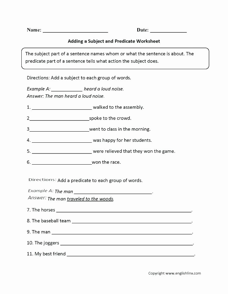 Free Subject and Predicate Worksheets Free Grammar Worksheets 5th Grade