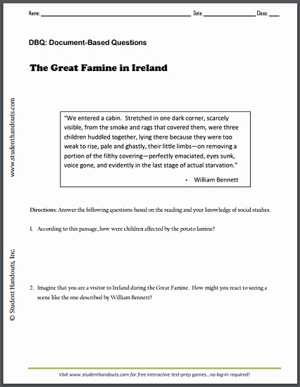 Free World History Worksheets the Great Famine In Ireland by William Bennett Dbq