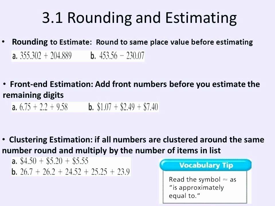 Front End Estimation Worksheets Algebra Worksheets 5th Grade – Jhltransports