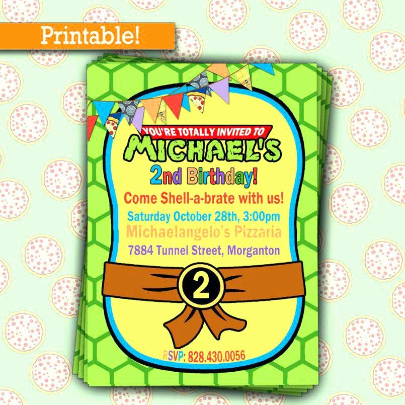Frozen Invitations Printable Birthday Invitations with Picture 650 650 Ninja Turtle
