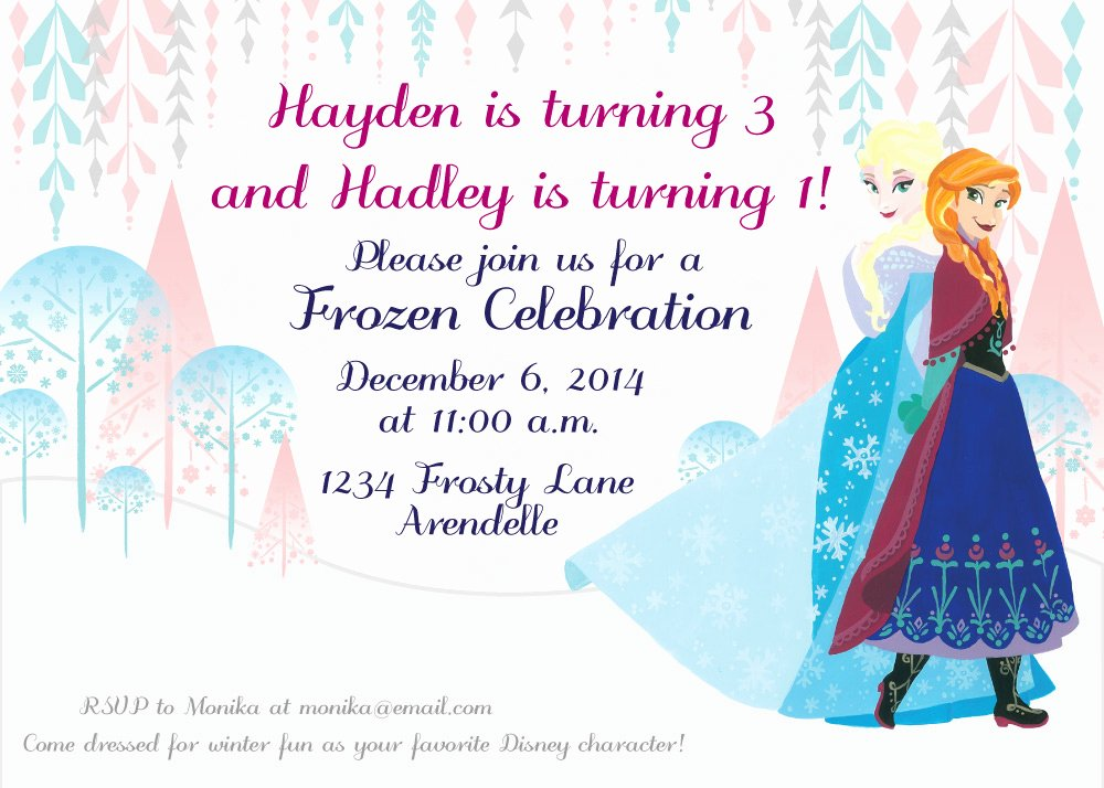 Frozen Printable Birthday Invitations Sisters Frozen Birthday Party