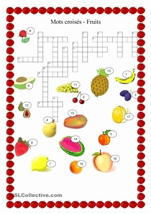Fruits and Vegetables Worksheets Pdf Nourriture Fruits Mots Croisés French Vocab