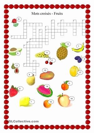 Fruits and Vegetables Worksheets Pdf Nourriture Fruits Mots Croisés French Vocab