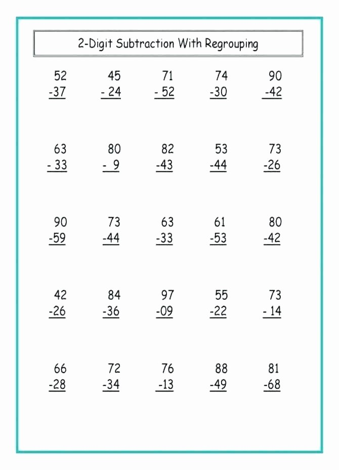 Fun Subtraction with Regrouping Worksheets 2 Digit Subtraction Worksheets