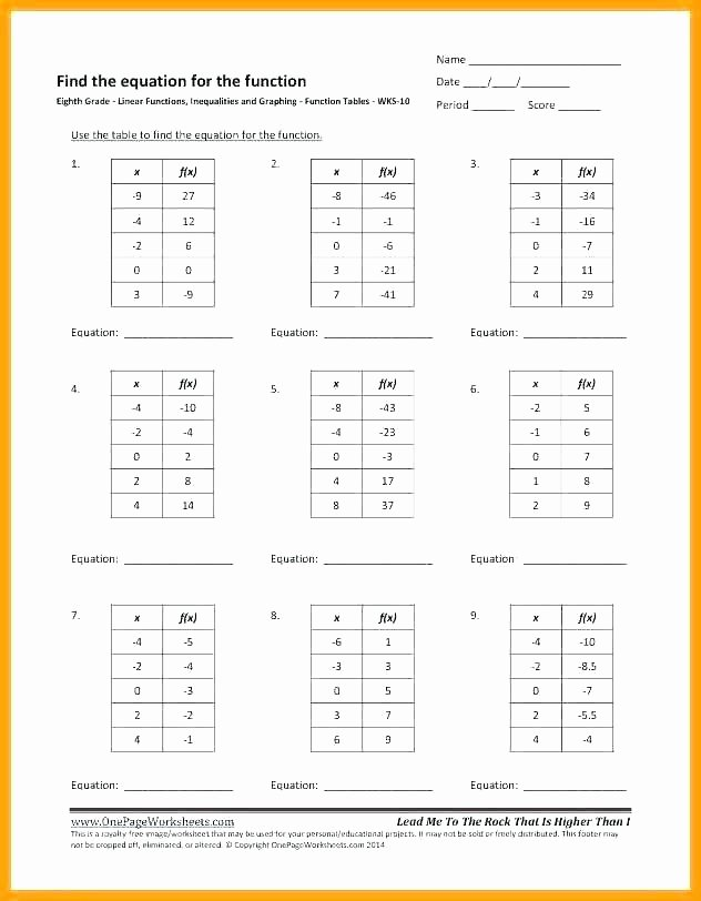 Function Table Worksheet Answer Key Functions Input Output Tables Worksheets Function Table Free