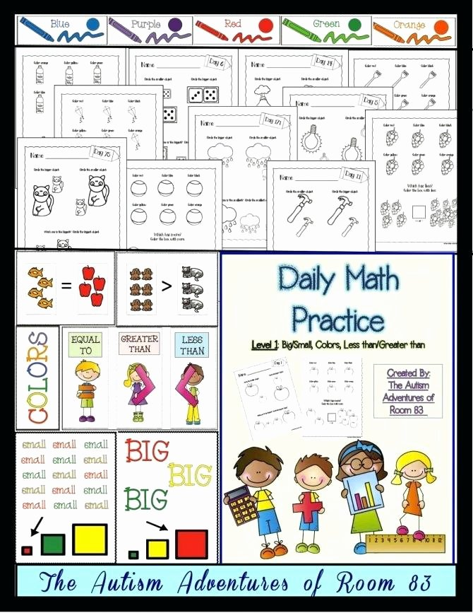 Functional Math Worksheets Special Education Preschool Worksheets Autism Math for Autistic Students 1