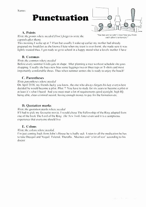 Funny Comma Mistakes Worksheets Fresh Using the Slash In Writing Punctuation Worksheets