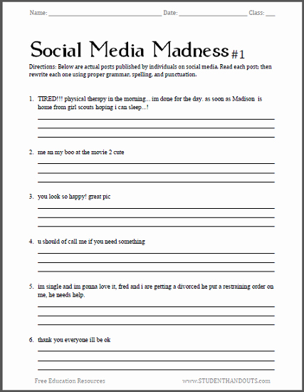 Funny Comma Mistakes Worksheets Luxury social Media Madness Worksheets Free to Print Pdf Files