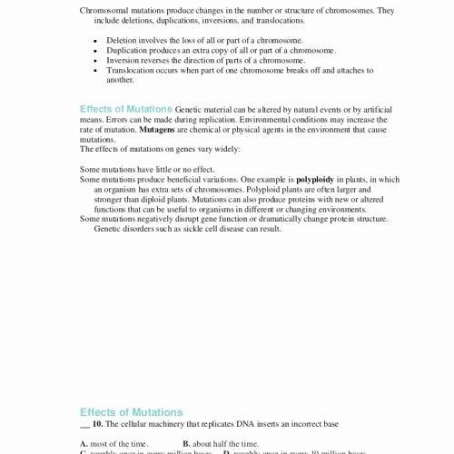 Genetic Traits Worksheet Lovely Gene and Chromosome Mutation Worksheet